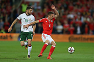 Andy King of Wales ® and Robbie Brady of Republic of Ireland in action. Wales v Rep of Ireland , FIFA World Cup qualifier , European group D match at the Cardiff city Stadium in Cardiff , South Wales on Monday 9th October 2017. pic by Andrew Orchard, Andrew Orchard sports photography