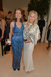 Left to right, ALINE HAY OF DUNS and LIZ BREWER in fashion show at Steps To The Future -in aid of RAFT (Restoration of Appearance & Function Trust) and Walking With The Wounded held at The Hurlingham Club, London on 28th November 2014.