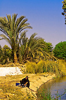 Woman washing clothes by a canal, Nubian village near Aswan, Egypt