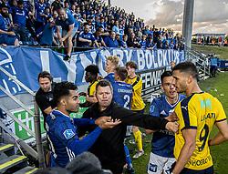 Tumult mellem Rezan Corlu og Imed Louati (Hobro IK) under kampen i 3F Superligaen mellem Lyngby Boldklub og Hobro IK den 20. juli 2020 på Lyngby Stadion (Foto: Claus Birch).