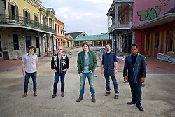 17 October 2013. Abandoned Six Flags, New Orleans, Louisiana. <br /> Terry McDermott and the Bonfires. <br /> L/R; Alex Smith,  Dave Rosser, Terry McDermott, Richard Hyland and Eric Bolivar.<br /> Photo; Charlie Varley