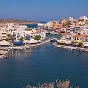 Agios Nikolaos panoramic photo with iconic view of lake Voulismeni