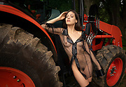 Nude woman wearing a black sheer top and black stockings resting against a red tractor