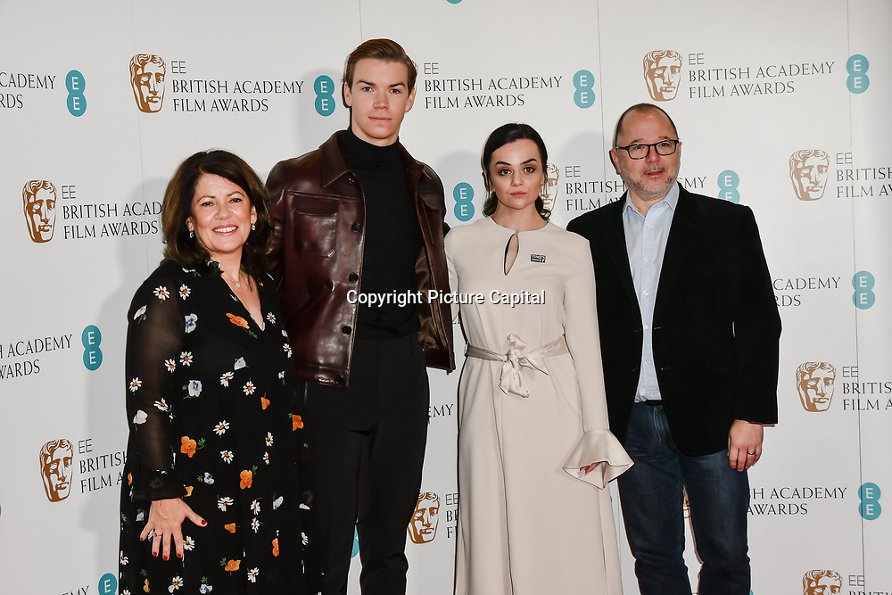 Pippa Harris, Will Poulter, Hayley Squires, Marc Samuelson attends the EE BAFTA Film Awards Nominations Announcement on 9 january 2019, london, UK.