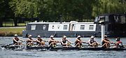 Henley. Berks, United Kingdom. <br /> <br /> Radcliffe Lwt, Harvard USA competing in the Seniore Women's Eight at the 2017 Henley' Women's Regatta. Rowing on, Henley Reach. River Thames. <br /> <br /> <br /> Sunday  18/06/2017<br /> <br /> <br /> [Mandatory Credit Peter SPURRIER/Intersport Images]