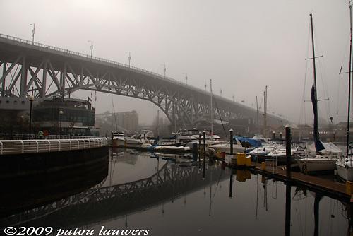 fog around burrard bridge, vancouver, BC