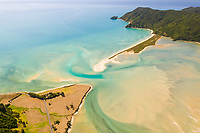 Aerial view of sandbank natural barrier at Takapou Bay, New Zealand.