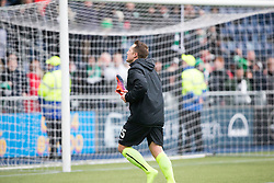 Kris Commons hands his boots to the fans. Falkirk 1 v 2 Hibernian, Scottish Championship game played 31/12/2016 at The Falkirk Stadium .