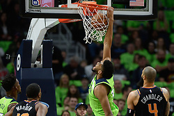 December 16, 2017 - Minneapolis, MN, USA - The Minnesota Timberwolves' Karl-Anthony Towns (32) dunkes in the first quarter against the Phoenix Suns on Saturday, Dec. 16, 2017, at Target Center in Minneapolis. (Credit Image: © Aaron Lavinsky/TNS via ZUMA Wire)
