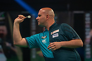 Rob Cross (England) during the Betway Premier League Darts Night Eight at Marshall Arena, Milton Keynes, United Kingdom on 21 April 2021