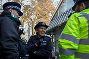 The morning after the terrorist attack at Fishmongers Hall on London Bridge, in which Usman Khan (a convicted, freed terrorist) killed 2 during a knife a attack, then subsequently tackled by passers-by and shot by armed police - Met Police Commissioner Cressida Dick tours Borough Market to speak with  her officers, on 30th November 2019, in London, England.