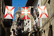 Basque Flag and local flags of old town Hondarribia, in Basque Country, Spain
