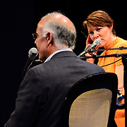 NHPR's Virginia Prescott interviews David Brooks during a Writers on a New England Stage show at The Music Hall in Portsmouth, NH