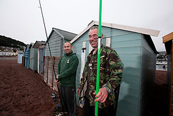 UK ENGLAND DEVON TEIGNMOUTH 10SEP16 - Anglers Pete Davey (48), a chef and carpenter Gerry Chenery (45) of  Lapford at Teignmouth harbour, Devon, England.<br /> <br /> jre/Photo by Jiri Rezac<br /> <br /> © Jiri Rezac 2016