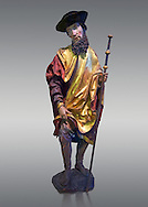 Painted wood sculpture of Saint Roch, circa 1510-1515  from Carinthie, Austria. Inv RF  4514,  The Louvre Museum, Paris. .<br /> <br /> If you prefer you can also buy from our ALAMY PHOTO LIBRARY  Collection visit : https://www.alamy.com/portfolio/paul-williams-funkystock/gothic-art-antiquities.html  Type -   louvre     - into the LOWER SEARCH WITHIN GALLERY box. Refine search by adding background colour, place, museum etc<br /> <br /> Visit our MEDIEVAL ART PHOTO COLLECTIONS for more   photos  to download or buy as prints https://funkystock.photoshelter.com/gallery-collection/Medieval-Gothic-Art-Antiquities-Historic-Sites-Pictures-Images-of/C0000gZ8POl_DCqE