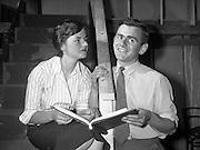 "23/06/1959<br /> 06/23/1959<br /> 23 June 1959<br /> Damer Hall Rehersal of Frank Carney's ""Siul Barr Cnoic"" at Damer Hall, Dublin by Aisteoiri Ceitinn for Gael Linn. Mairin Duireac as Sorcha and Padraig O Gaora as Seamus her brother. The play was performed 29/06/1959."