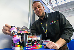 XXX of Rainbow Eco Play demonstrates his eco-friendly range of fluorescent sands, glitters and play dough at the Toy Fair at Kensington Olympia in London, the UK's largest dedicated game and hobby exhibition featuring the hottest and most anticipated products for the year ahead. London, January 22 2019.