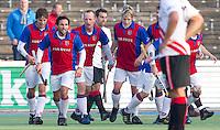 AMSTELVEEN - Vreugde bij SCHC (0-1),  zondag tijdens de hoofdklassewedstrijd mannen tussen Amsterdam en SCHC (2-1). Foto Koen Suyk