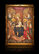 Gothic altarpiece of Madonna and Child and 4 angels, by Pere Garcia de Benavarri, circa 1445-1485, tempera and gold leaf on wood.  National Museum of Catalan Art, Barcelona, Spain, inv no: MNAC  15817. Against a black background. . .<br /> <br /> If you prefer you can also buy from our ALAMY PHOTO LIBRARY  Collection visit : https://www.alamy.com/portfolio/paul-williams-funkystock/gothic-art-antiquities.html  Type -     MANAC    - into the LOWER SEARCH WITHIN GALLERY box. Refine search by adding background colour, place, museum etc<br /> <br /> Visit our MEDIEVAL GOTHIC ART PHOTO COLLECTIONS for more   photos  to download or buy as prints https://funkystock.photoshelter.com/gallery-collection/Medieval-Gothic-Art-Antiquities-Historic-Sites-Pictures-Images-of/C0000gZ8POl_DCqE