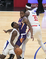 December 20, 2017 - Los Angeles, California, U.S - Jawun Evans #1 of the Los Angeles Clippers clashes with Isaiah Canaan #2 of the Phoenix Suns during their NBA game on Wednesday December 20, 2017 at the Staples Center in Los Angeles, California. Clippers vs Suns. (Credit Image: © Prensa Internacional via ZUMA Wire)