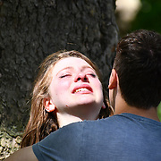 London, UK. 27 June 2019. UK Weather - The Hottest week in June 2019 A young girl crying after have a fights with her boyfriend at St James  Park, London, UK