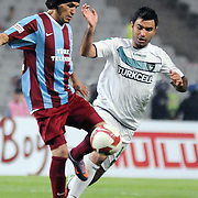 Trabzonspor's Gustavo COLMAN (L) during their Turkish superleague soccer match Trabzonspor between Denizlispor at the Avni Aker Stadium in Trabzon Turkey on Monday, 10 May 2010. Photo by TURKPIX