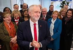© Licensed to London News Pictures. 29/10/2019. London, UK. Labour Party Leader Jeremy Corbyn is surrounded by the shadow cabinet at headquarters as he announces that he will support an early general election. The government are expected to call for another vote on a general election in Parliament later today. Photo credit: Peter Macdiarmid/LNP