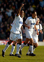 Photo: Alan Crowhurst.<br />Watford v Derby County. Coca Cola Championship. 04/03/2006. Kevin Lisbie celebrates by raising his arm after scoring the first goal of the match for Derby.