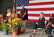 East Meadow, New York, U.S. September 10, 2020. Nassau County commemorates 19th anniversary of September 11 terrorist attacks with Remembrance and Name Recitation Ceremony at Harry Chapin Lakeside Theater in Eisenhower Park, with names read of 348 county residents killed that day. Nassau County Executive LAURA CURRAN made introductory remarks. Due to COVID-19 concerns, participants wore face coverings, and residents were urged to virtually attend ceremony live online.