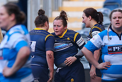 Caryl Thomas is congratulated by Flo Long of Worcester Warriors Women after scoring a try - Mandatory by-line: Nick Browning/JMP - 09/01/2021 - RUGBY - Sixways Stadium - Worcester, England - Worcester Warriors Women v DMP Durham Sharks - Allianz Premier 15s