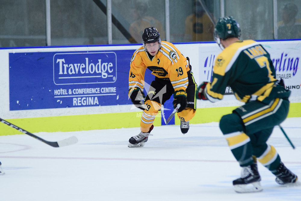 1st year forward Gary Marr (19) of the Regina Cougars in action during the Men's Hockey Home Game on November 5 at Co-operators arena. Credit: Arthur Ward/Arthur Images