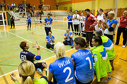 Mira Jakin of Slovenia celebrating 60 years during friendly Sitting Volleyball match between National teams of Slovenia and China, on October 22, 2017 in Sempeter pri Zalcu, Slovenia. (Photo by Vid Ponikvar / Sportida)
