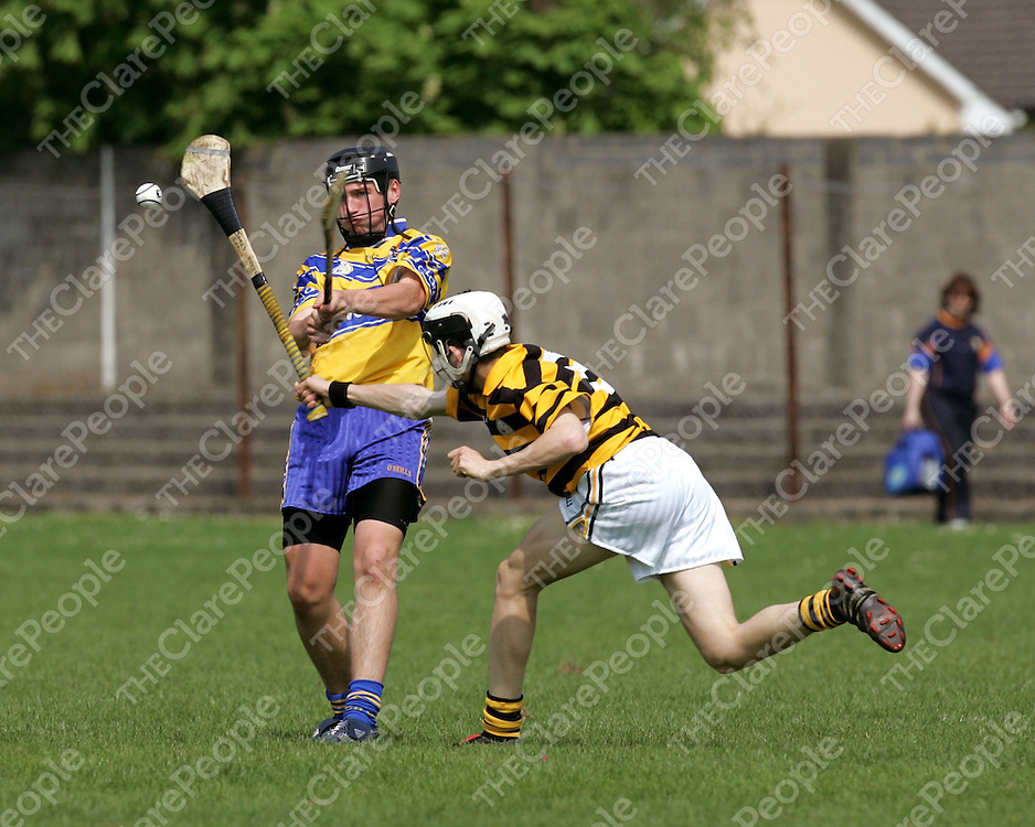 30/04/07<br />Conor Ryan of East Clare is blocked by Kieron Stokes of Avondhu, Cork in the Munster U16 Inter-Divisional Hurling Championship 'A' Final Replay at Bruff GAA Grounds in Co. Limerick on Saturday.<br />Picture: Don Moloney / Press 22