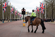 Scenes along The Mall which is lined by Union Jack flags in Westminster on Brexit Day as the UK prepares to leave the European Union on 31st January 2020 in London, England, United Kingdom. At 11pm on Friday 31st January 2020, The UK and N. Ireland will officially leave the EU and go into a state of negotiations as to the future arrangement and trade agreement, while adhering to EU rules until the end of 2020.