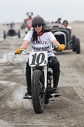 Karen Howell on her Harley-Davidson Flathead racer at TROG (The Race Of Gentlemen). Wildwood, NJ. USA. Sunday June 10, 2018. Photography ©2018 Michael Lichter.