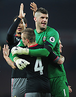 Football - 2016 / 2017 League [EFL] Cup - Quarter-Final: Arsenal vs. Southampton<br /> <br /> Fraser Forster of Southampton celebrates with goalscorer Jordy Clasie after the match at The Emirates<br /> <br /> COLORSPORT/ANDREW COWIE