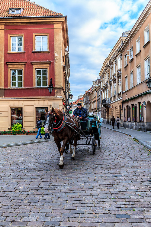 Horse carriage in Warsaw, Poland.