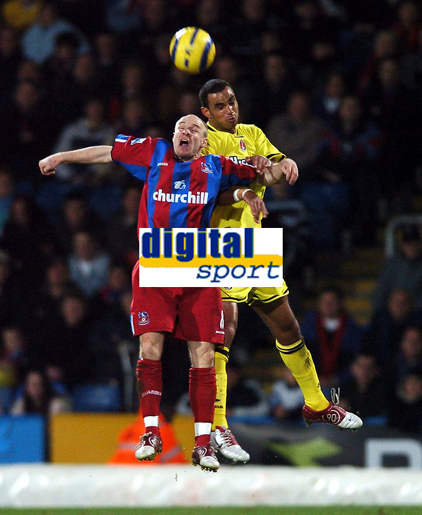 Photo: Javier Garcia/Back Page Images Mobile +447887 794393<br />Crystal Palace v Charlton Athletic, FA Barclays Premiership, Selhurst Park, 05/12/04<br />Andy Johnson of Crystal Palace, left, and Jonathan Fortune leap for the ball