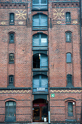 Old warehouse at historic Speicherstadt district in Hamburg Germany