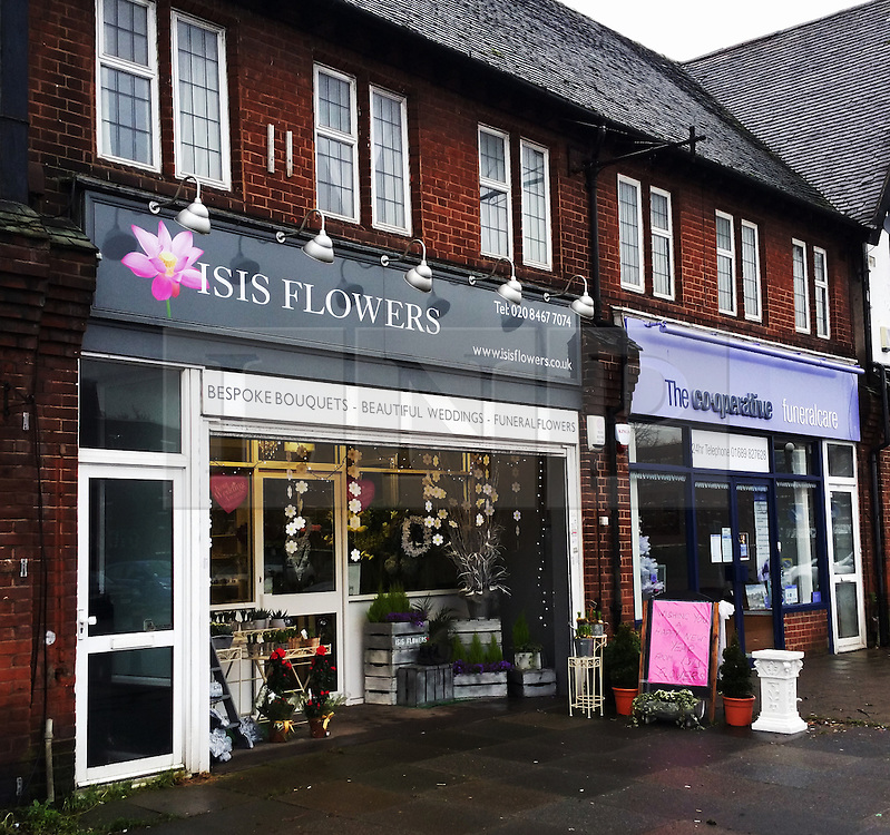© Licensed to London News Pictures. 04/01/2015<br />  A flower shop on Queensway in Pettswood, Orpington, Kent which has the most unfortunate name ISIS Flowers. Photo credit:Grant Falvey/LNP