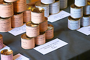 Truffle preparations in tins cans conserves: onion marmalade with truffles 25 percent, 12 euro for 40 grams Truffiere de la Bergerie (Truffière) truffles farm Ste Foy de Longas Dordogne France