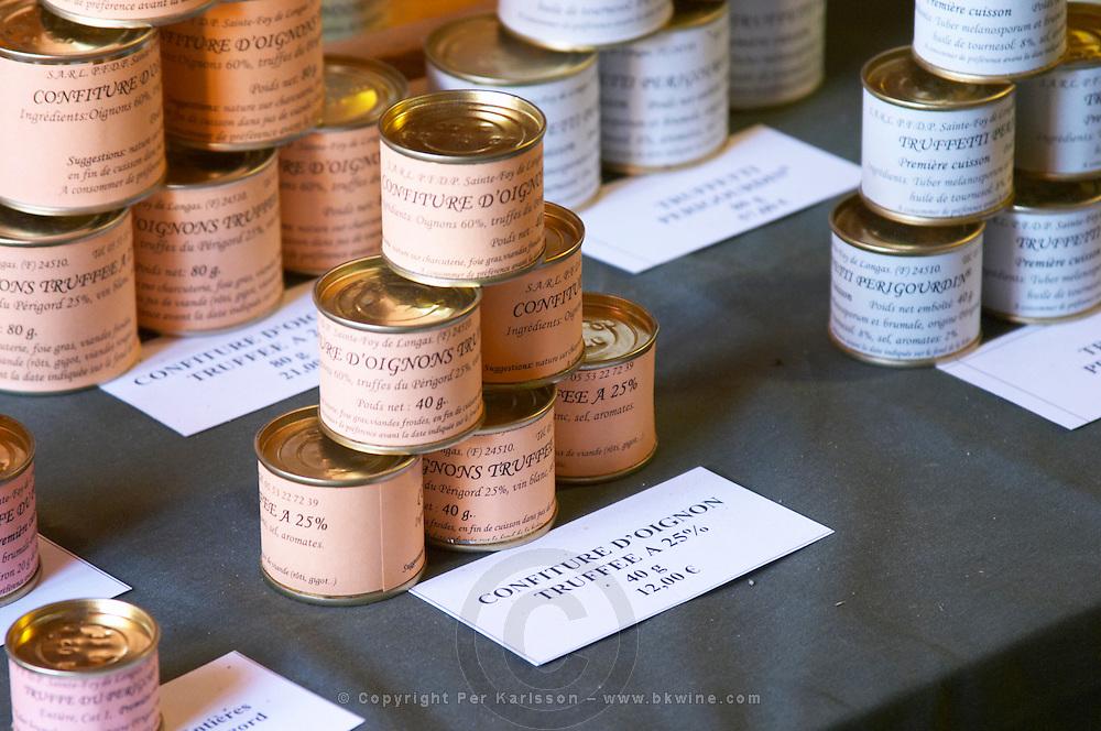 Truffle preparations in tins cans conserves: onion marmalade with truffles 25 percent, 12 euro for 40 grams Truffiere de la Bergerie (Truffière) truffles farm Ste Foy de Longas Dordogne France