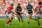 Hull FC stand off Albert Kelly (6) passes the ball  during the Ladbrokes Challenge Cup Final 2017 match between Hull RFC and Wigan Warriors at Wembley Stadium, London, England on 26 August 2017. Photo by Simon Davies.
