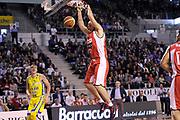 DESCRIZIONE : Ancona Lega A 2011-12 Fabi Shoes Montegranaro Scavolini Siviglia Pesaro<br /> GIOCATORE : Marco Cusin<br /> CATEGORIA : schiacciata<br /> SQUADRA : Scavolini Siviglia Pesaro<br /> EVENTO : Campionato Lega A 2011-2012<br /> GARA : Fabi Shoes Montegranaro Scavolini Siviglia Pesaro<br /> DATA : 01/04/2012<br /> SPORT : Pallacanestro<br /> AUTORE : Agenzia Ciamillo-Castoria/C.De Massis<br /> Galleria : Lega Basket A 2011-2012<br /> Fotonotizia : Ancona Lega A 2011-12 Fabi Shoes Montegranaro Scavolini Siviglia Pesaro<br /> Predefinita :
