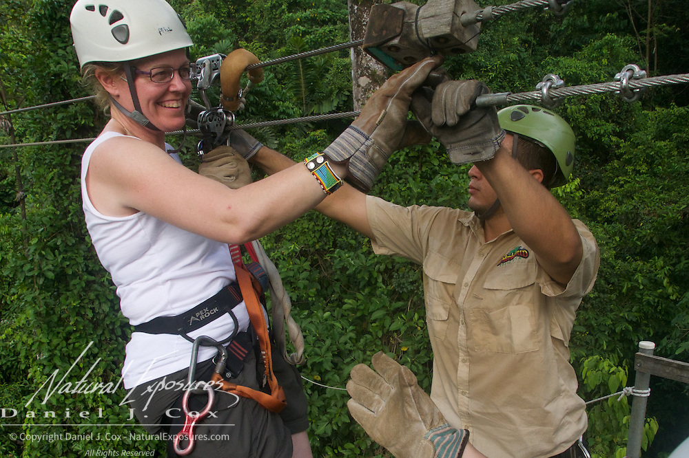 Christine comes in on the zip Line. Costa Rica.
