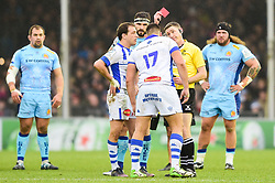 Tudor Stroe of Castres Olympique receives a yellow card - Mandatory by-line: Ryan Hiscott/JMP - 13/01/2019 - RUGBY - Sandy Park Stadium - Exeter, England - Exeter Chiefs v Castres - Heineken Champions Cup