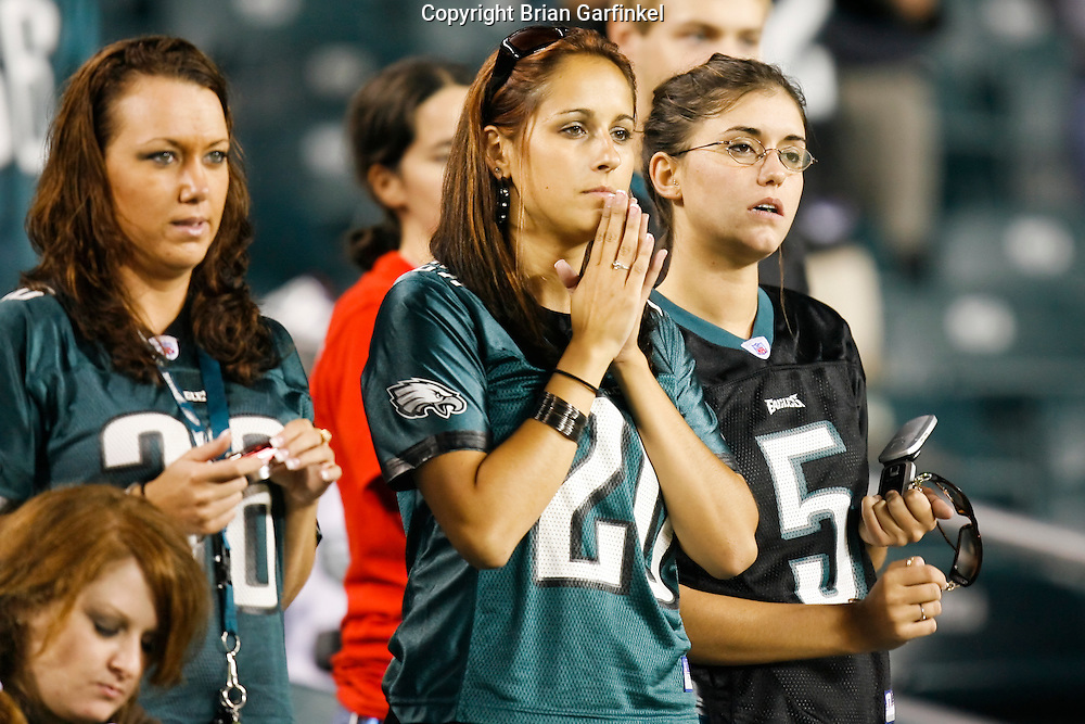 8 August 2008: A Philadelphia Eagles fan watches with concern during the game against the Carolina Panthers on August 14, 2008. The Eagles beat the Panthers 24 to 13 at Lincoln Financial Field in Phialdelphia, Pennsylvania.