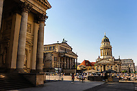 Berlin, Germany. The Gendarmenmarkt is a large and famous square in Berlin, the site of the Konzerthaus and the French and German Cathedrals.
