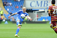 Cardiff City's Lex Immers volleys the ball over the bar. EFL Skybet championship match, Cardiff city v Queens Park Rangers at the Cardiff city stadium in Cardiff, South Wales on Sunday 14th August 2016.<br /> pic by Carl Robertson, Andrew Orchard sports photography.