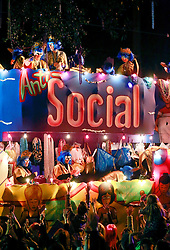 12 Feb 2015. New Orleans, Louisiana.<br /> Mardi Gras. The 'Anti Social Media' float of the Krewe of Muses makes its way along Magazine Street.<br /> Photo; Charlie Varley/varleypix.com